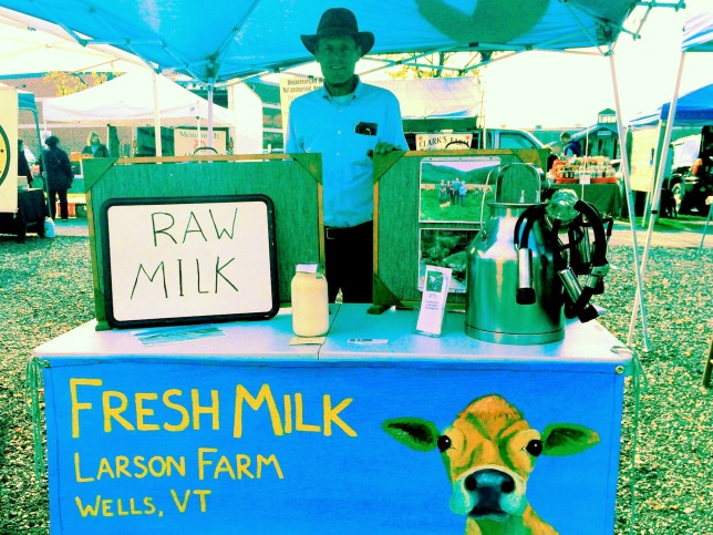 Rich Larson selling milk at the farmers market. Larson Farm/photo